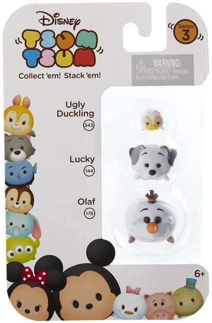Disney Tsum Tsum Series 3 Ugly Duckling, Lucky & Olaf Minifigure 3-Pack #343, 144 & 178