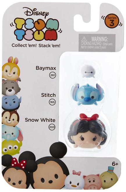 Disney Tsum Tsum Series 3 Baymax, Stitch & Snow White Minifigure 3-Pack #261, 165 & 203