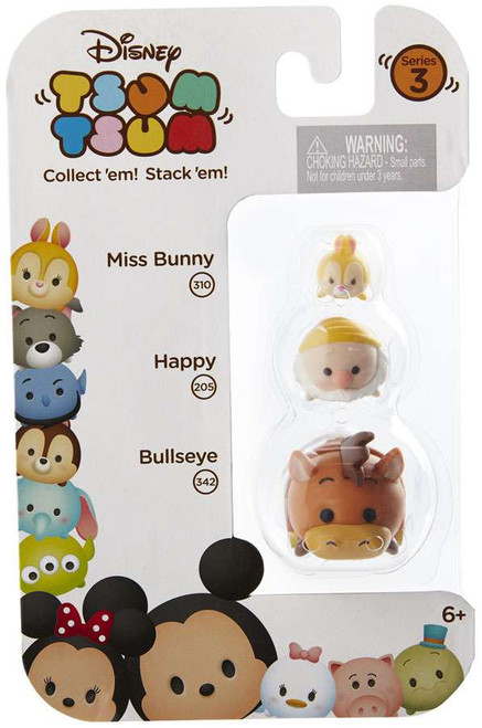 Disney Tsum Tsum Series 3 Miss Bunny, Happy & Bullseye Minifigure 3-Pack #310, 205 & 342