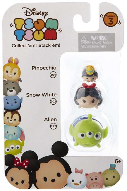 Disney Tsum Tsum Series 3 Pinocchio, Snow White & Alien Minifigure 3-Pack #304, 202 & 242