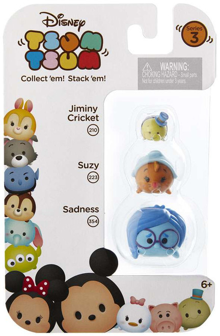Disney Tsum Tsum Series 3 Jiminy Cricket, Suzy & Sadness Minifigure 3-Pack #210, 223 & 354