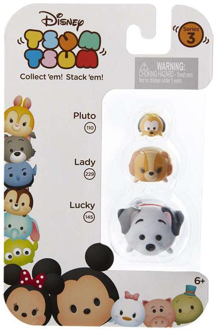 Disney Tsum Tsum Series 3 Pluto, Lady & Lucky Minifigure 3-Pack #110, 229 & 145