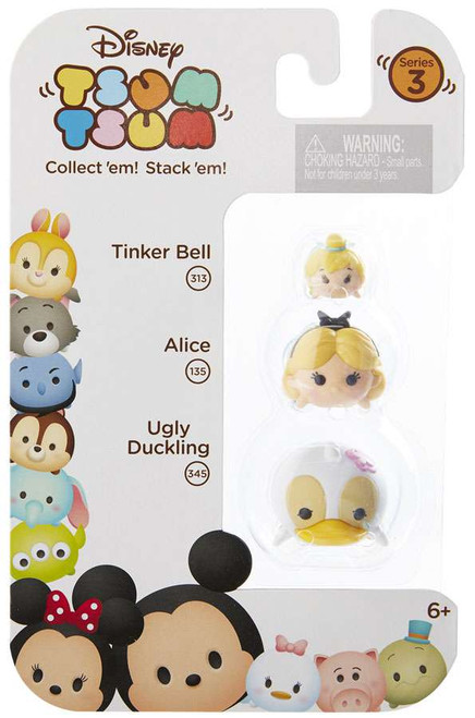 Disney Tsum Tsum Series 3 Tinker Bell, Alice & Ugly Duckling Minifigure 3-Pack #313, 135 & 345