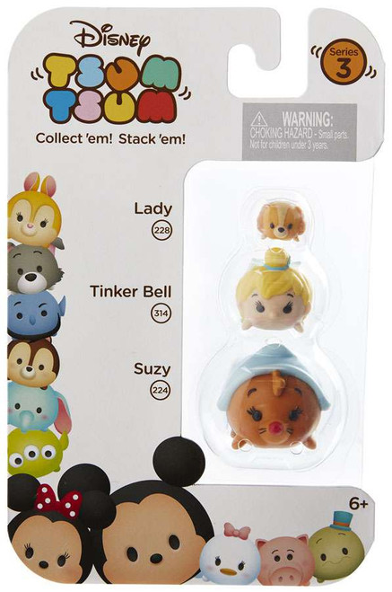 Disney Tsum Tsum Series 3 Lady, Tinker Bell & Suzy Minifigure 3-Pack #228, 314 & 224