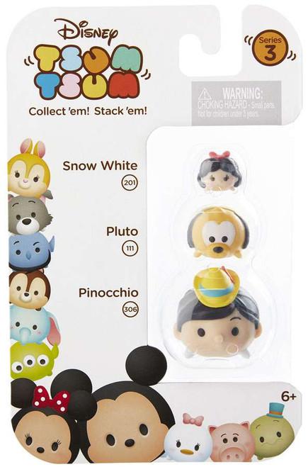 Disney Tsum Tsum Series 3 Snow White, Pluto & Pinocchio Minifigure 3-Pack #201, 111 & 306