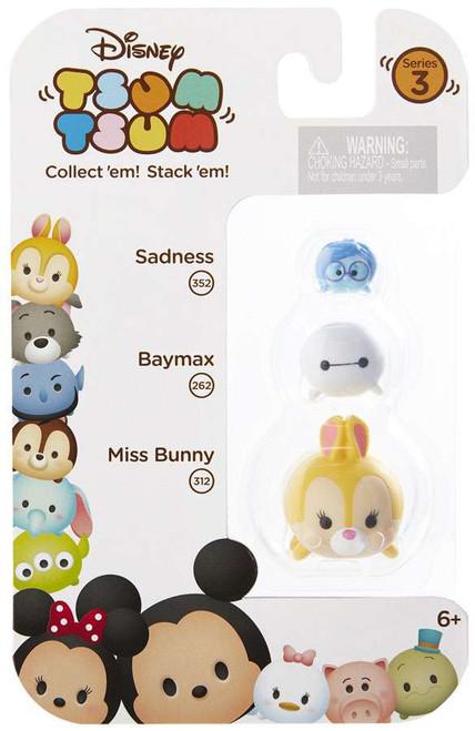 Disney Tsum Tsum Series 3 Sadness, Baymax & Miss Bunny Minifigure 3-Pack #352, 259 & 312