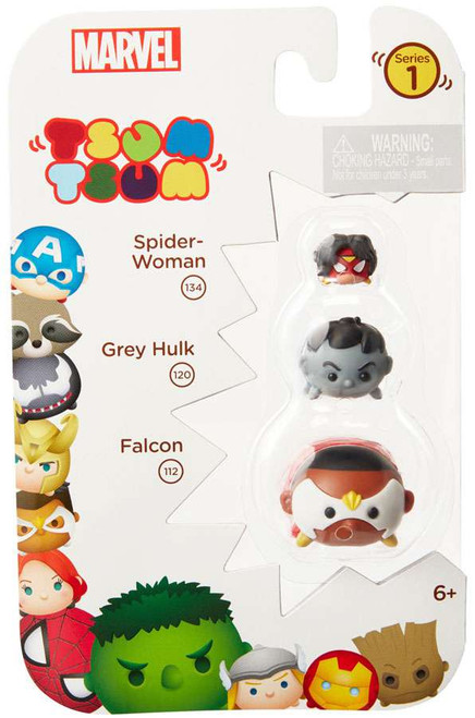 Marvel Tsum Tsum Series 1 Spider-Woman, Grey Hulk & Falcon 1-Inch Minifigure 3-Pack #134, 120 & 112