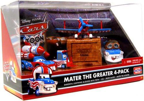 Disney / Pixar Cars Cars Toon Multi-Packs Mater the Greater 4-Pack Diecast Car Set [Set #2, Damaged Package]