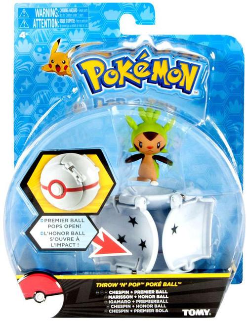 Pokemon Throw 'n' Pop Pokeball Chespin & Premier Ball Figure Set