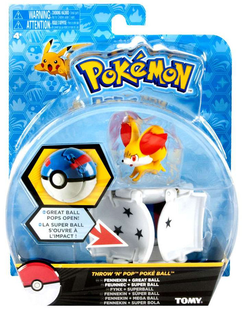 Pokemon Throw 'n' Pop Pokeball Fennekin & Great Ball Figure Set