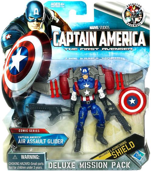 The First Avenger Deluxe Mission Pack Comic Series Captain America Action Figure [Air Assault Glider, Damaged Package]