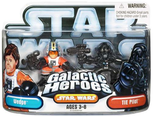 Star Wars A New Hope Galactic Heroes 2007 Wedge & Tie Pilot Mini Figure 2-Pack