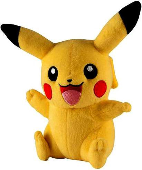 Pokemon Pikachu 7-Inch Plush [Sitting Open Mouth, Waving, Other Arm Up]