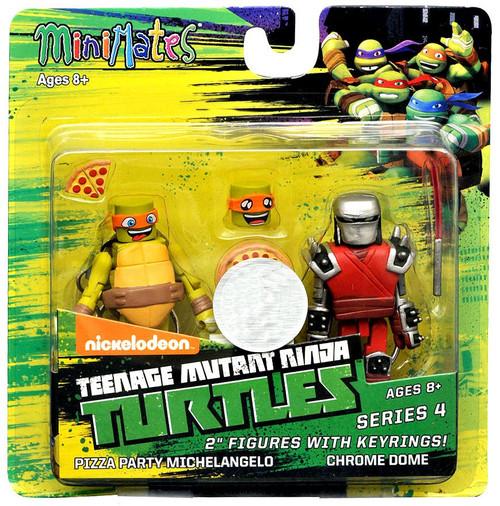 Teenage Mutant Ninja Turtles Nickelodeon Minimates Series 4 Pizza Party Michelangelo & Chrome Dome 2-Inch Minimates Keychains