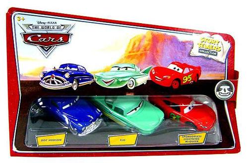 Disney / Pixar Cars The World of Cars Story Tellers Doc Hudson, Flo & Sponsorless McQueen Diecast Car 3-Pack