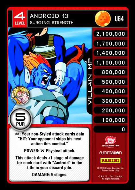 Dragon Ball Z CCG Vengeance Uncommon Android 13 - Surging Strength U64