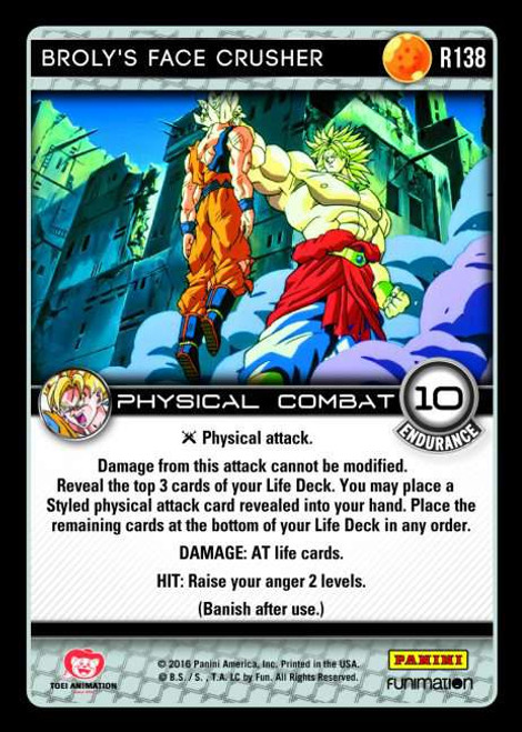 Dragon Ball Z CCG Vengeance Rare Broly's Face Crusher R138