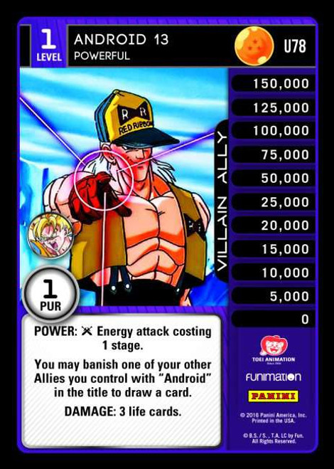Dragon Ball Z Vengeance Uncommon Foil Android 13 - Powerful U78