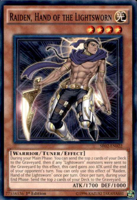 YuGiOh Rise of the True Dragons Structure Deck Common Raiden, Hand of the Lightsworn SR02-EN022