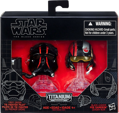 Star Wars The Force Awakens Black Titanium Tie Fighter Pilot & Poe Dameron 2-Inch Diecast Helmet 2-Pack