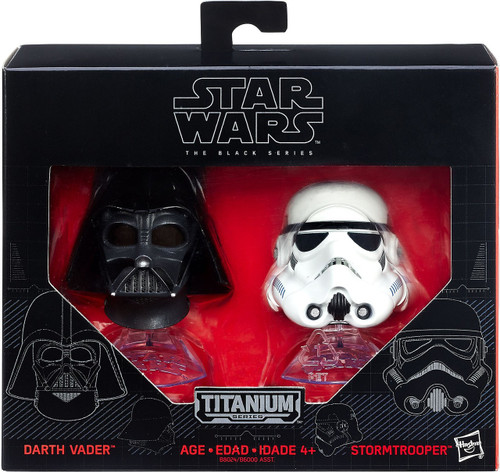 Star Wars The Force Awakens Black Titanium Darth Vader & Stormtrooper 2-Inch Diecast Helmet 2-Pack