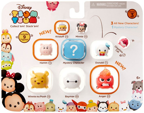 Disney Tsum Tsum Series 3 Kristoff, Minnie, Cheshire Cat, Hamm, Donald, Winnie the Pooh, Baymax & Anger 1-Inch Minifigure 9-Pack