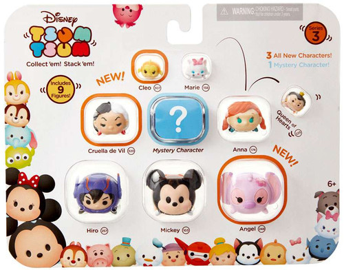 Disney Tsum Tsum Series 3 Cleo, Marie, Queen of Hearts, Cruella De Vil, Anna, Hiro, Mickey & Angel 1-Inch Minifigure 9-Pack