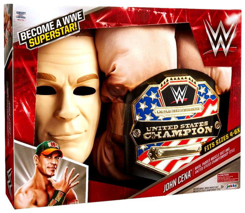 WWE Wrestling John Cena Mask, Muscle Suit & Belt