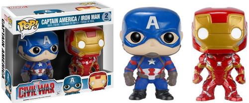 Funko Civil War POP! Marvel Captain America & Iron man Exclusive Vinyl Bobble Head 2-Pack