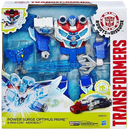 Transformers Robots in Disguise Power Surge Optimus Prime & Mini-Con Aerobolt Titan Action Figure