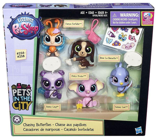 Littlest Pet Shop Pets in the City Chasing Butterflies Figure 5-Pack