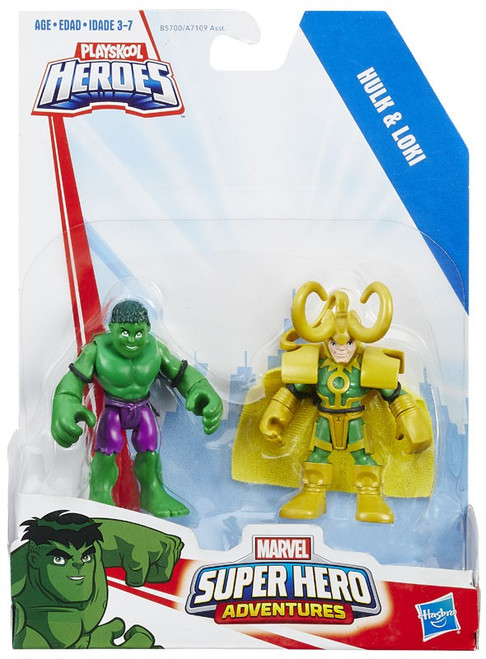 Marvel Playskool Heroes Super Hero Adventures Hulk & Loki Action Figure 2-Pack