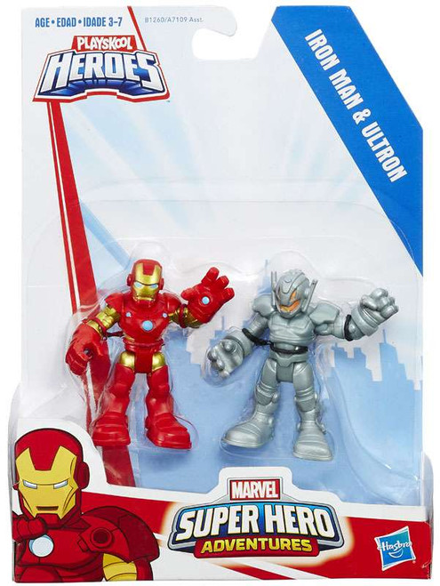 Marvel Playskool Heroes Super Hero Adventures Iron Man & Ultron Action Figure 2-Pack