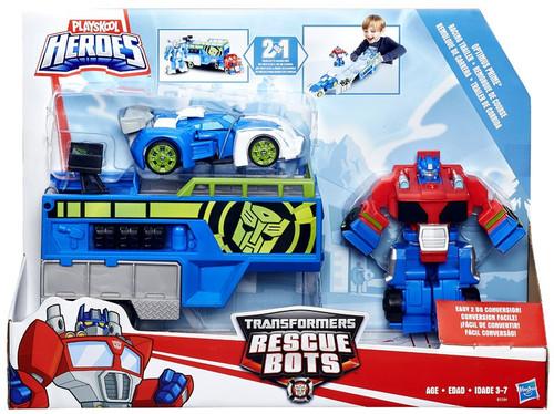 Transformers Playskool Heroes Rescue Bots Optimus Prime Racing Trailer