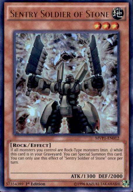 YuGiOh Dark Side of Dimensions Movie Ultra Rare Sentry Soldier of Stone MVP1-EN012