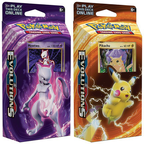 Pokemon Trading Card Game XY Evolutions Mewtwo Mayhem & Pikachu Power Set of Both Theme Decks