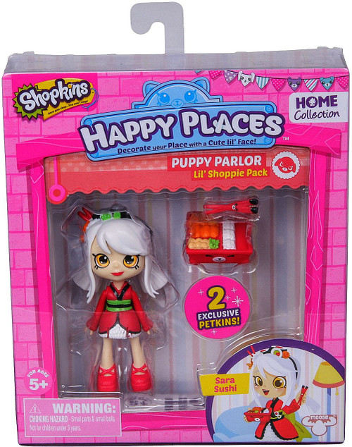 Shopkins Happy Places Series 1 Sara Sushi Lil' Shoppie Pack #74 & 75 [Puppy Parlor]