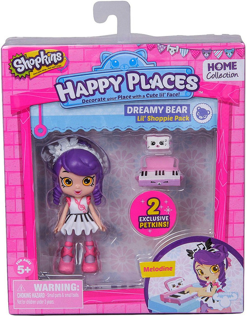 Shopkins Happy Places Series 1 Melodine Lil' Shoppie Pack #224 & 225 [Dreamy Bear]