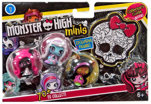 Monster High Minis Series 1 Clawdeen Wolf, Abbey Bominable & Catty Noir Mini Figure 3-Pack