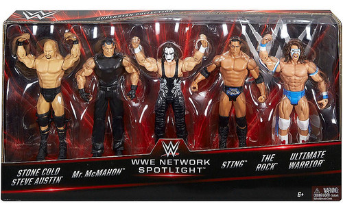 WWE Wrestling Network Spotlight Austin, McMahon, Sting, Rock & Warrior Exclusive Action Figure 5-Pack
