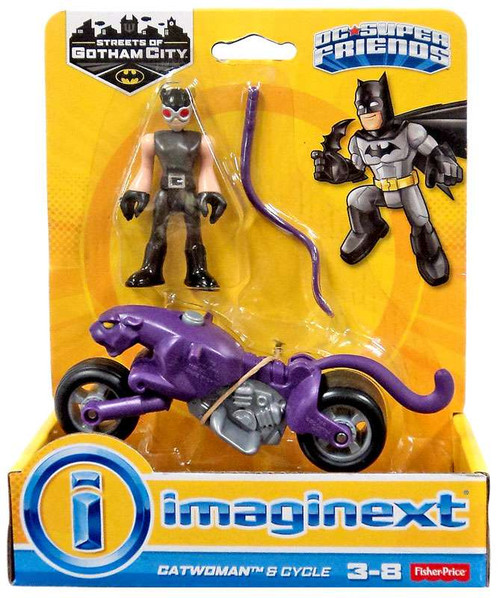 Fisher Price DC Super Friends Imaginext Gotham City Catwoman & Cycle 3-Inch Figure Set