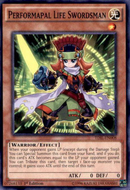 YuGiOh The Dark Illusion Common Performapal Life Swordsman TDIL-EN008