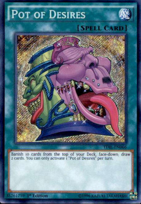 YuGiOh The Dark Illusion Secret Rare Pot of Desires TDIL-EN066