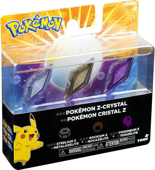 Pokemon Z-Ring Steelium Z, Rockium Z & Poisonium Z Crystal 3-Pack