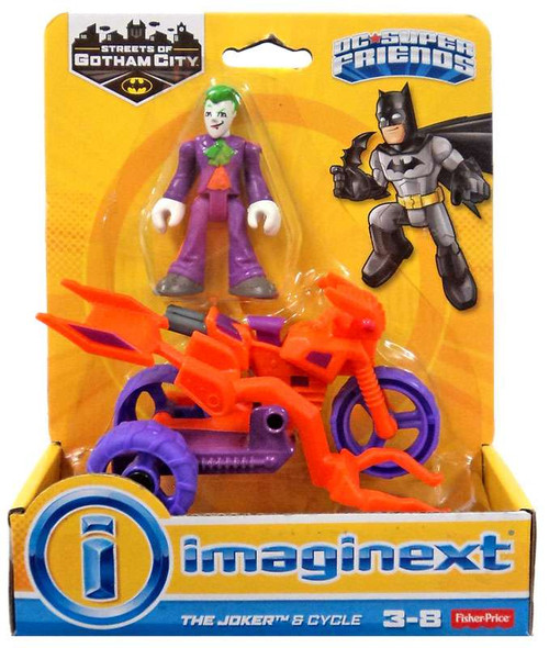 Fisher Price DC Super Friends Imaginext Gotham City The Joker & Cycle 3-Inch Figure Set