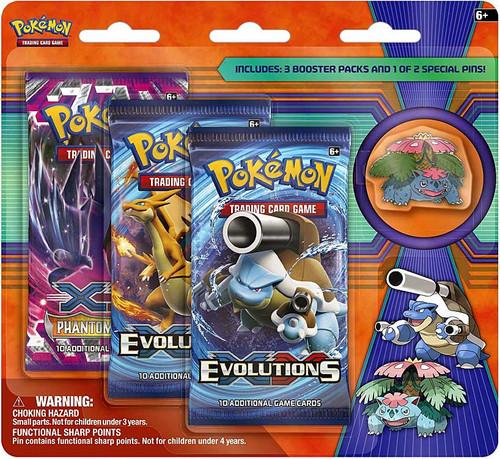 Pokemon Trading Card Game XY Mega Venusaur Pin Collection [3 Booster Packs & Pin]