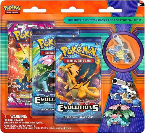 Pokemon Trading Card Game XY Mega Blastoise Pin Collection [3 Booster Packs!]