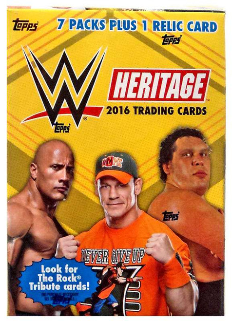 WWE Wrestling Topps 2016 Heritage Trading Card BLASTER Box [7 Packs & 1 Relic Card!]