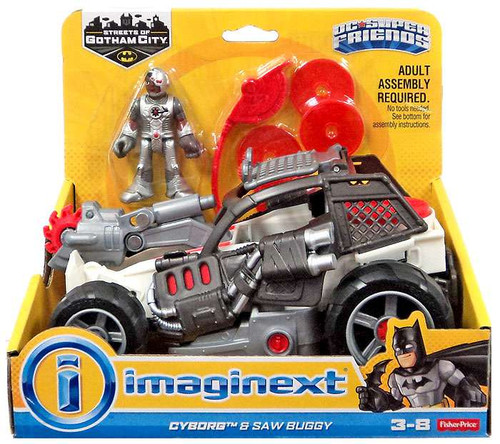 Fisher Price DC Super Friends Imaginext Cyborg & Saw Buggy 3-Inch Figure Set