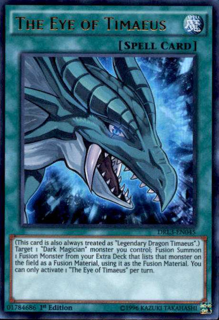 YuGiOh Dragons of Legend: Unleashed Ultra Rare The Eye of Timaeus DRL3-EN045